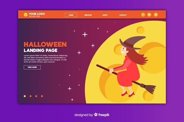 Flache halloween-landungsseite mit hexe auf besen
