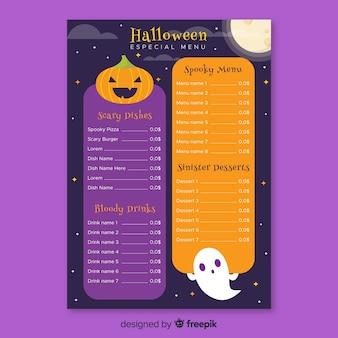 Flache halloween-menüvorlage