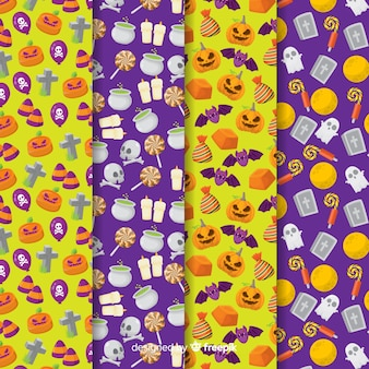 Flache halloween-mustersammlung auf gelbem und purpurrotem hintergrund