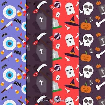 Flache halloween-mustersammlung mit kirchhofelementen