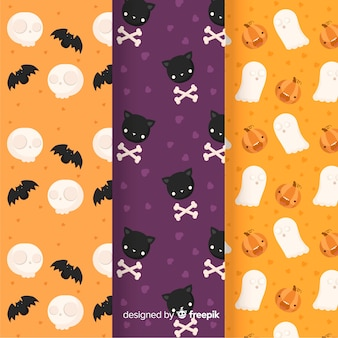Flache halloween-mustersammlung