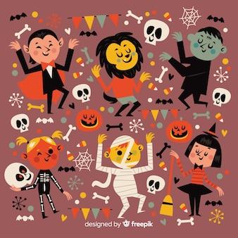 Flache halloween-party-nachtsammlung