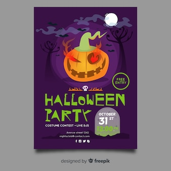 Flache halloween-party-plakat-vorlage