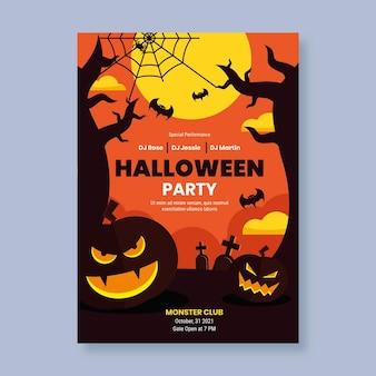 Flache halloween-party-plakatschablone
