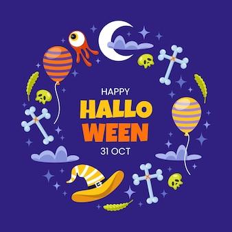 Flache halloween-rahmenschablone