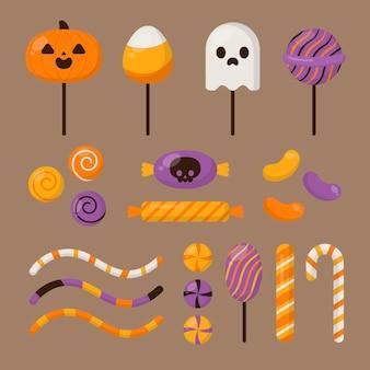 Flache halloween-süßigkeiten-sammlung