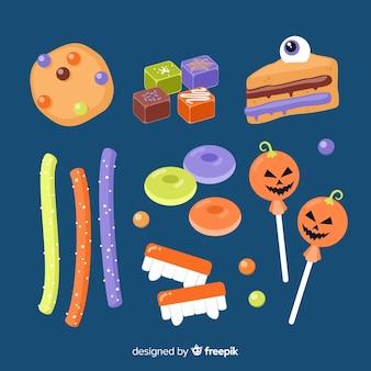 Flache halloween-süßigkeitssammlung