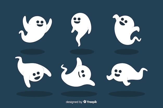 Flache halloween-tanzen-geistersammlung