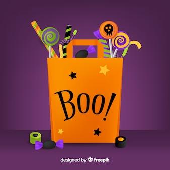 Flache halloween-tasche mit boo! zitat