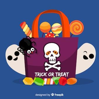 Flache halloween-tasche mit süßigkeiten und geistern