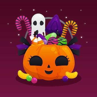 Flache halloween-tasche mit süßigkeiten