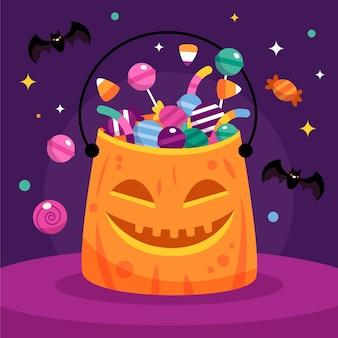 Flache halloween taschenillustration