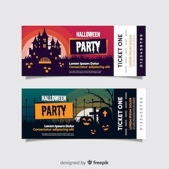 Flache halloween-tickets mit gruseligen gesichtern