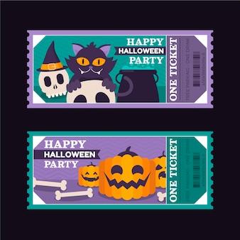 Flache halloween-tickets-set