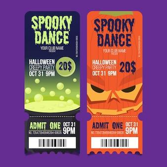 Flache halloween-tickets