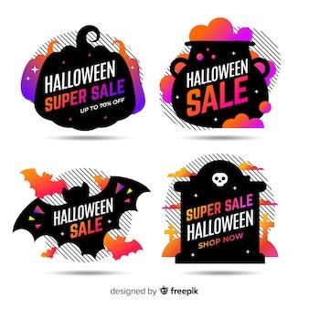 Flache halloween-verkaufsaufkleber- und -ausweissammlung im schwarzen design