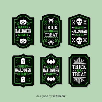 Flache halloween-verkaufsausweissammlung im grün