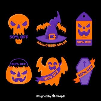 Flache halloween-verkaufsausweissammlung