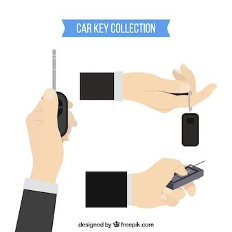 Flache hand, die autoschlüsselhintergrund hält