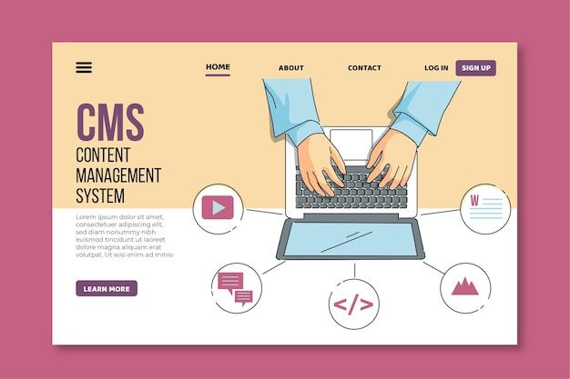 Flache hand gezeichnete cms landing page web-vorlage