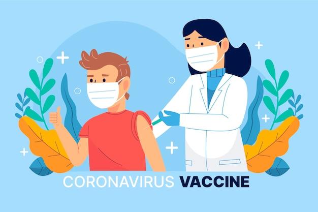 Flache hand gezeichnete coronavirus-impfstoffillustration