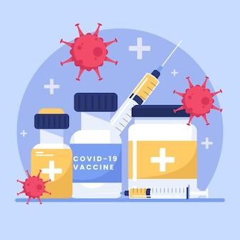 Flache hand gezeichnete coronavirus-impfstoffillustration Kostenlosen Vektoren