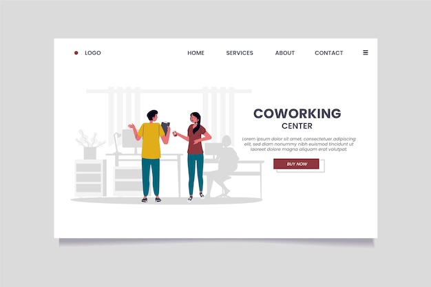 Flache hand gezeichnete coworking-landingpage-vorlage