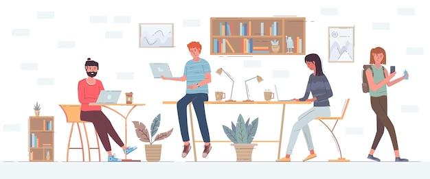 Flache hand gezeichnete coworking space illustration