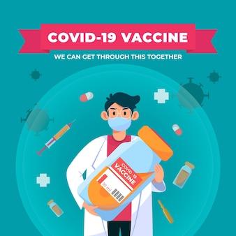 Flache hand gezeichnete darstellung des coronavirus-impfstoffs