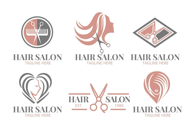 Flache hand gezeichnete friseursalon-logo-sammlung