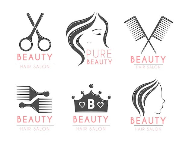 Flache hand gezeichnete friseursalon-logo-set