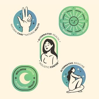 Flache hand gezeichnete ganzheitliche logo-sammlung