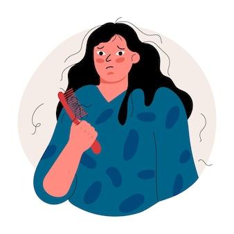 Flache hand gezeichnete haarausfallillustration mit frau