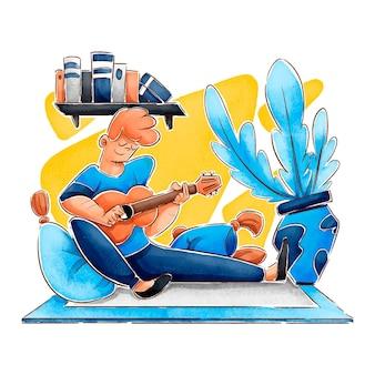Flache hand gezeichnete hyggeillustration mit mann, der gitarre spielt
