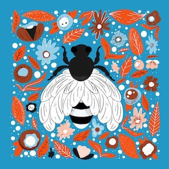 Flache hand gezeichnete illustration der biene. netter charakter. einfache blüten und blätter aus dem regenwald