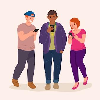Flache hand gezeichnete junge leute mit smartphones