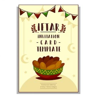 Flache hand gezeichnete karikatur-iftar-einladungskartenschablone