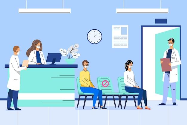 Flache hand gezeichnete krankenhausempfangsszene mit gesichtsmasken
