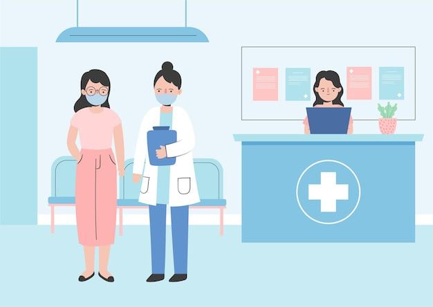 Flache hand gezeichnete krankenhausempfangsszene