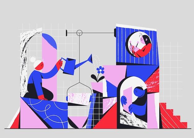Flache hand gezeichnete leute, die ein geschäftsprojekt starten