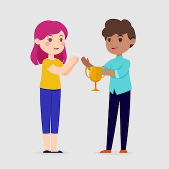 Flache hand gezeichnete leute, die eine leistungsillustration feiern
