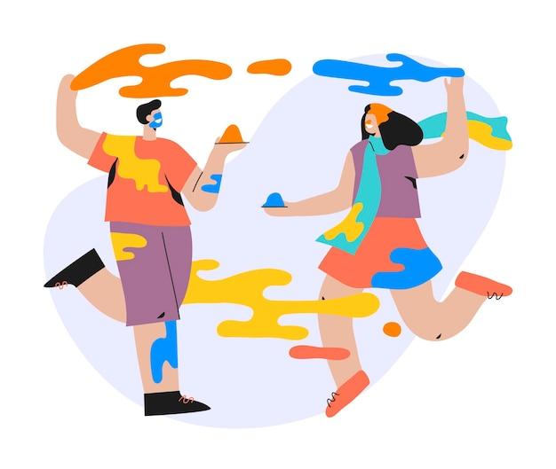 Flache hand gezeichnete leute, die holi festivalillustration feiern