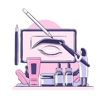 Flache hand gezeichnete microblading-illustration