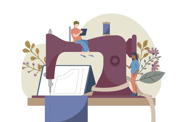 Flache hand gezeichnete modedesignerillustration mit nähmaschine