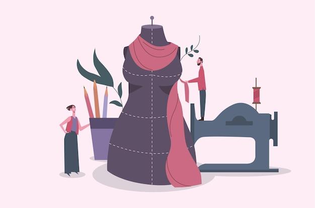 Flache hand gezeichnete modedesignerillustration