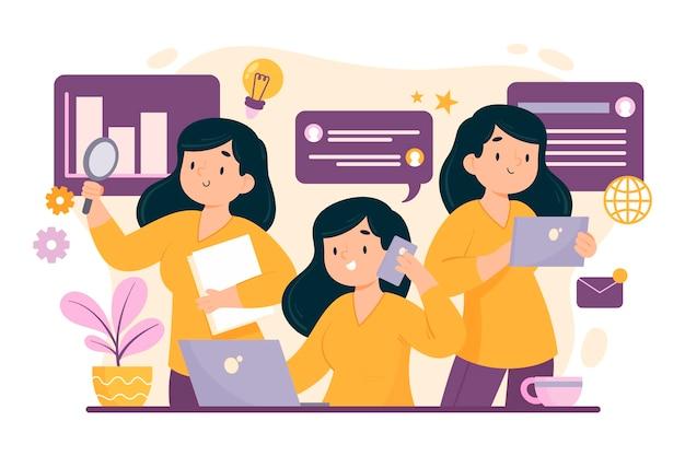 Flache hand gezeichnete multitask-geschäftsfrau