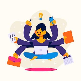 Flache hand gezeichnete multitask-geschäftsfrauillustration