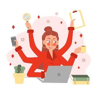 Flache hand gezeichnete multitasking-geschäftsfrauillustration
