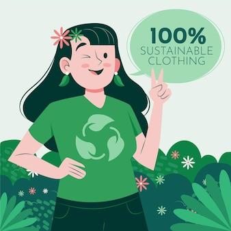 Flache hand gezeichnete nachhaltige modeillustration mit der frau, die zwinkert und friedenszeichen zeigt