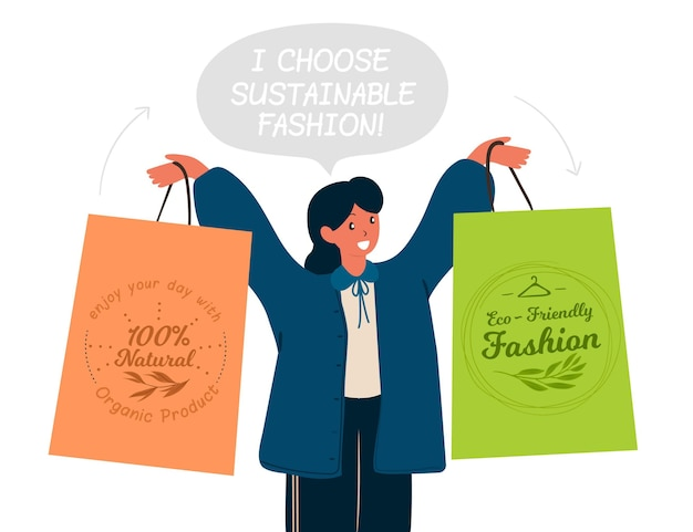 Flache hand gezeichnete nachhaltige modeillustration mit frau, die einkaufstaschen hält